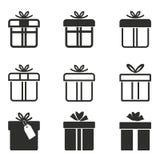 Комплект значка подарочной коробки Стоковое Изображение
