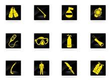Комплект значка подныривания Стоковые Изображения RF