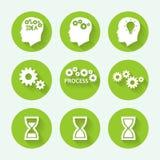 Комплект значка процессов зеленый, плоский дизайн также вектор иллюстрации притяжки corel Стоковое Изображение