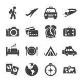 Комплект значка путешествовать и перехода, вектор eps10 Стоковая Фотография