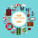 Комплект значка путешествовать, туризм, планирование каникул Стоковое Изображение RF