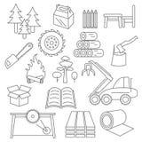 Комплект значка пульпы, бумаги и изделий из древесины Тонкая линия изолят дизайна Стоковые Фотографии RF