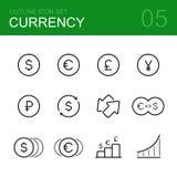 Комплект значка плана вектора валюты Стоковое Изображение
