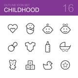 Комплект значка плана вектора детства Стоковые Изображения