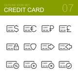 Комплект значка плана вектора кредитной карточки Стоковое фото RF