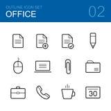 Комплект значка плана вектора офиса Стоковые Изображения RF