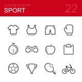 Комплект значка плана вектора спорта Стоковые Изображения RF