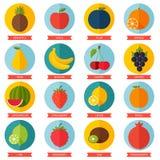 Комплект значка плодоовощей плоский Красочный шаблон для Стоковые Изображения