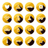 Комплект значка различных символов роскоши и очарования плоский Стоковые Изображения RF