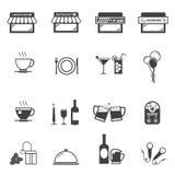 Комплект значка ресторана кафа Стоковая Фотография