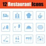 Комплект значка ресторана Стоковое Изображение