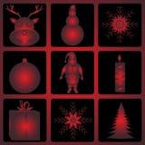Комплект значка рождества и хеллоуина Стоковые Изображения RF