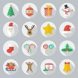 Комплект значка рождества плоский Стоковая Фотография