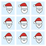 Комплект значка рождества Санта Клауса Стоковые Фотографии RF