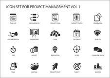 Комплект значка руководства проектом Различные символы для управлять проектируют, как список задач, план проекта, объем, качество