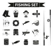 Комплект значка рыбной ловли, черный силуэт, стиль плана Объекты собрания рыбозавода, элементы дизайна, изолированные на белизне Стоковое Изображение