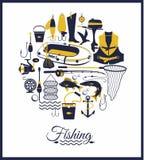 Комплект значка рыбной ловли Стоковые Изображения