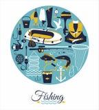Комплект значка рыбной ловли Стоковые Фото