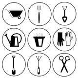 Комплект значка садовничая инструментов Стоковые Фото