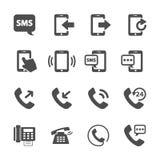 Комплект значка связи прибора телефона, вектор eps10 Стоковые Изображения RF
