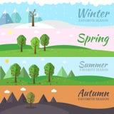 Комплект значка сезона предпосылки дерева природы Стоковое Фото