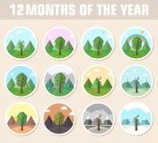 Комплект значка сезона предпосылки дерева природы Стоковые Изображения RF