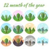 Комплект значка сезона предпосылки дерева природы Стоковое Изображение
