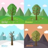 Комплект значка сезона предпосылки дерева природы Стоковые Фото