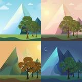 Комплект значка сезона предпосылки дерева природы Стоковая Фотография