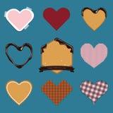 Комплект значка сердца в плоском дизайне на день Valentine's Стоковые Изображения RF