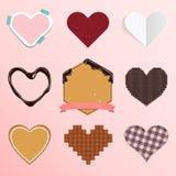 Комплект значка сердца в плоском дизайне для орнамента дня или свадьбы валентинки Стоковые Фото