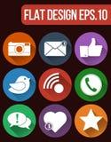 Комплект значка сети вектора социальный Значки связи и средств массовой информации плоские для сети и передвижного App Стоковая Фотография RF