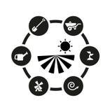 Комплект значка сельского хозяйства вектора черный Стоковое Изображение
