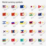 Комплект значка символов валюты мира Значки знака денег с национальными флагами Стоковая Фотография