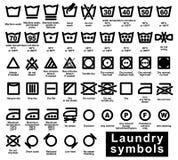 Комплект значка символов прачечной Стоковое Фото