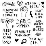 Комплект значка символов феминизма вектора Движение Femenist иллюстрация вектора