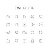 Комплект значка системы тонкий Стоковое Изображение