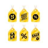 Комплект значка скидки платы ярлыка продажи Стоковые Изображения RF