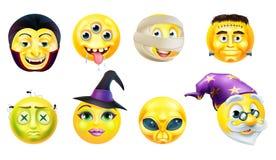 Комплект значка смайлика хеллоуина Стоковое Фото