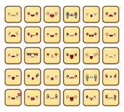 Комплект значка смайликов большой пакет, emoji на белой предпосылке Вектор дизайна Kawaii плоский Стоковые Фотографии RF