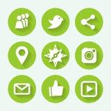 Комплект значка социальных сетей зеленый, плоский дизайн также вектор иллюстрации притяжки corel Стоковое Изображение