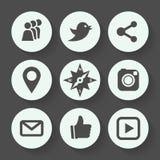Комплект значка социальных сетей серый, плоский дизайн также вектор иллюстрации притяжки corel Стоковые Фото