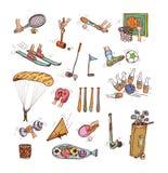 Комплект значка спорта, рука нарисованная иллюстрация вектора Стоковая Фотография