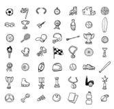 Комплект значка спорта, рука нарисованная иллюстрация вектора Стоковая Фотография RF