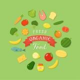 Комплект значка стиля свежих натуральных продуктов плоский Стоковые Изображения RF