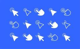 Комплект значка стрелок и рук курсора мыши Стоковые Фотографии RF