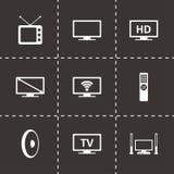 Комплект значка ТВ вектора Стоковые Изображения RF