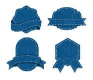 Комплект значка текстуры джинсов Стоковая Фотография