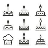 Комплект значка торта Стоковое Фото