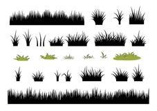 Комплект значка травы: установленные силуэты травы - иллюстрация вектора Стоковое Изображение